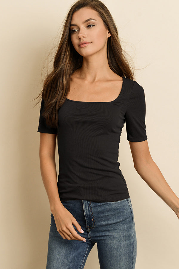 Square Neck Short Sleeve Tee in Black