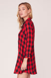 Squared Up Buffalo Plaid Shirt Dress in Red