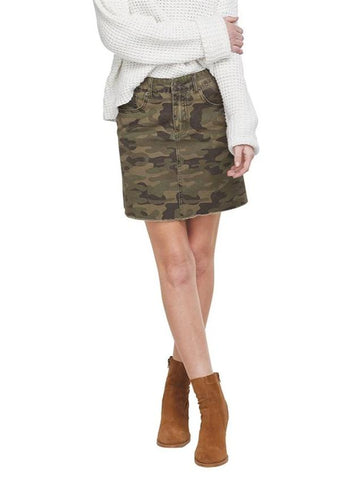 Stevie Mini Skirt in Green Camo - Close Up View