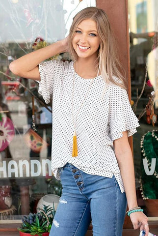 Summer Ruffle Polka Dot Tee by Grace & Lace