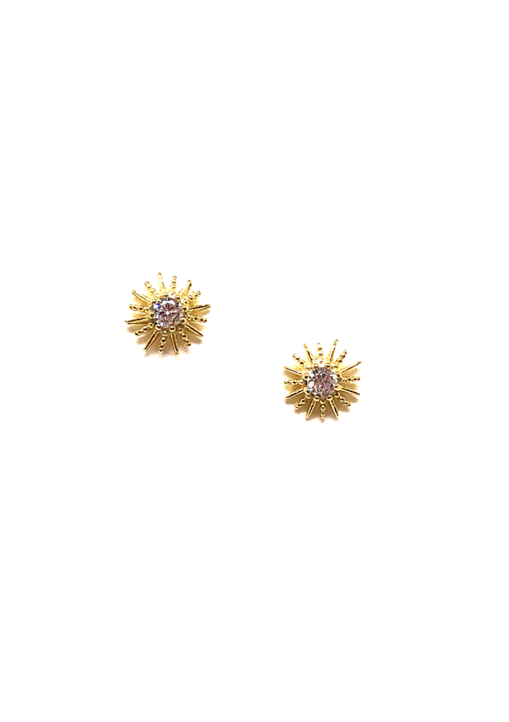 Cora Sun Stud Earrings In Gold