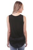 Vendela Layered Chiffon Tank, Black