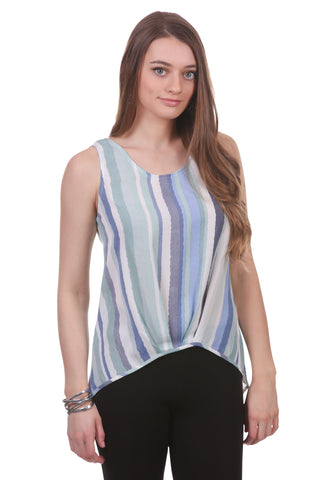 Marcella Striped Pleated Tank, Seafoam