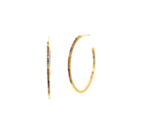 Pave Rainbow Crystal Hoop Earrings