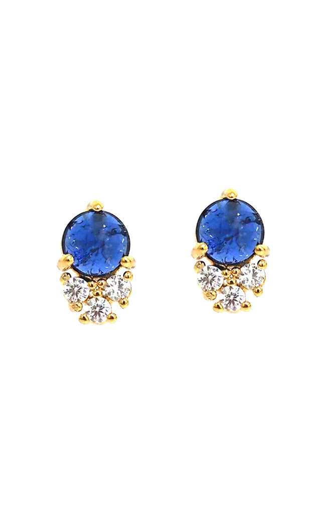 Dark Blue Studs With Clustered CZs