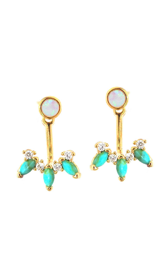 Dangle Earrings With Opal, Turquoise & CZs