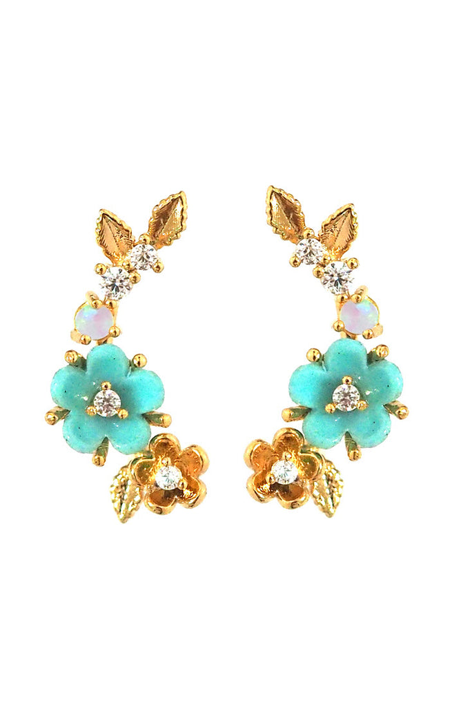 Turquoise Flower Climber Earrings