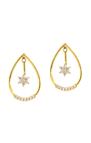Teardrop Earrings With Star Center