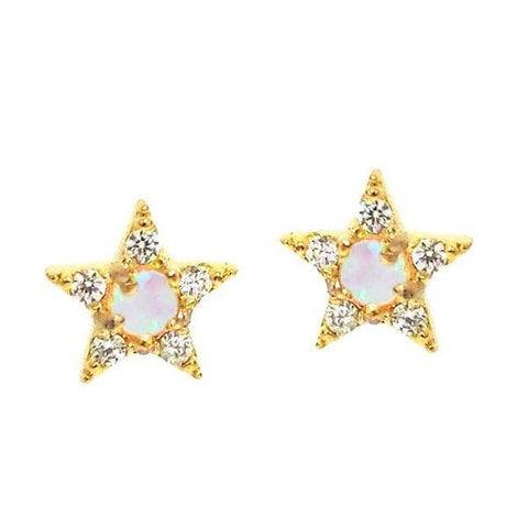 Star Opal Center Studs, Gold