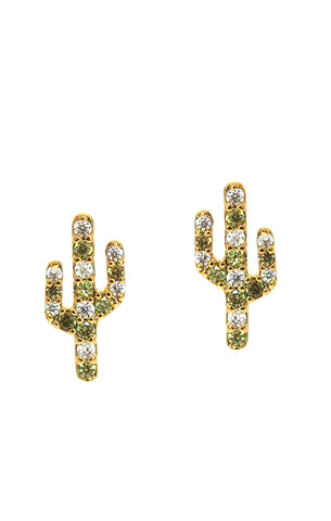 Cactus Studs With CZs & Green Crystals
