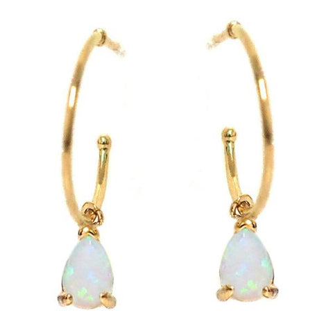 Opal Tear Drop Dangle Hoops