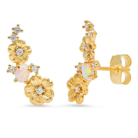 Floral Opal Gold Climber Earrings