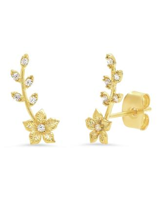 Gold Flower Climber Earrings