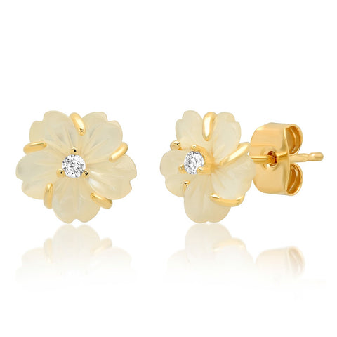 Floral Stud Earrings, Mother Of Pearl