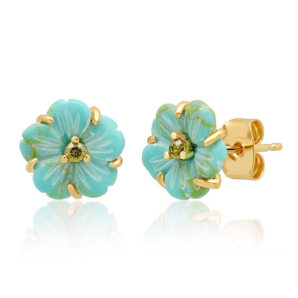 Floral Stud Earrings, Turquoise