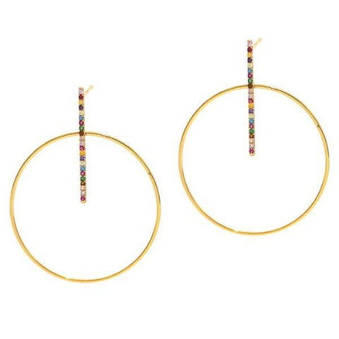 Circle And Stick Rainbow Drop Earrings