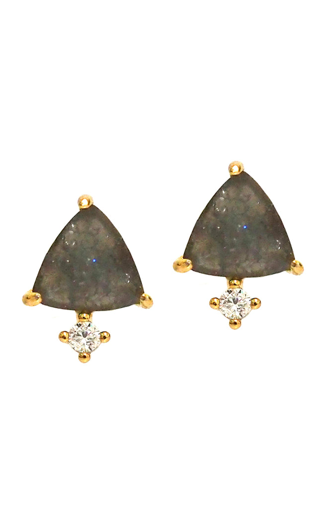 Triangle Stud Earrings With CZ Accents Tai Jewelry