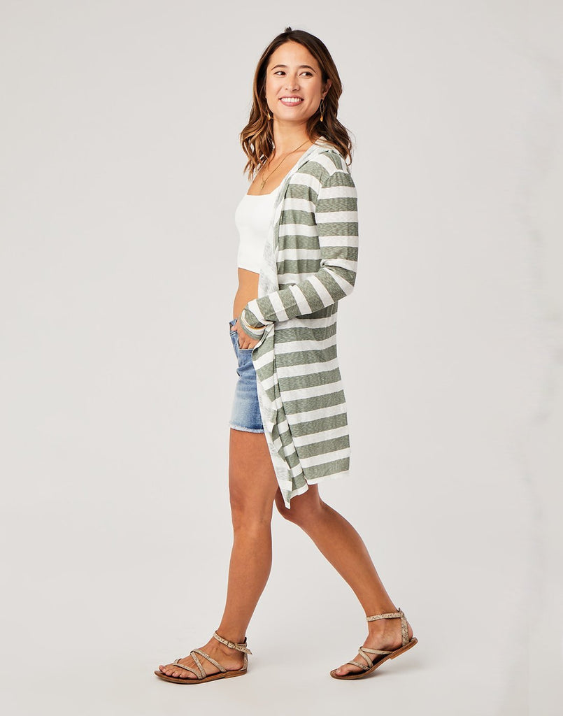 Ellie Cardigan, Moss Stripe
