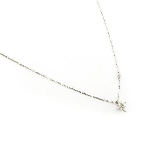CZ Starburst Pendant Necklace, Silver