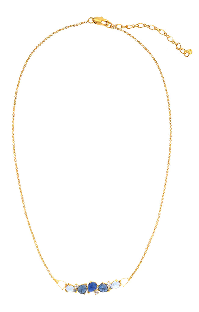 Clustered Blue Ombre Bar Necklace Tai Jewelry