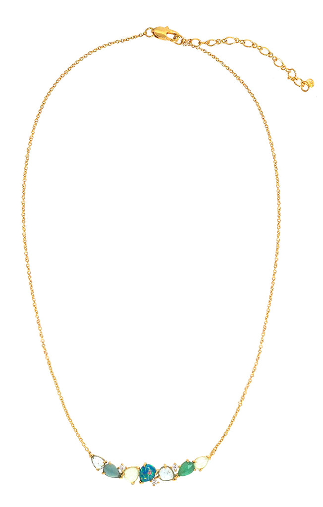 Clustered Sky Green Bar Necklace Tai Jewelry