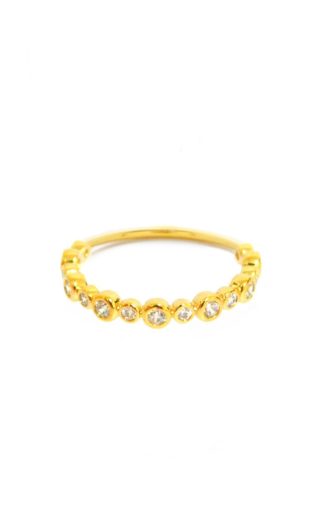 Bezel Set CZ Band Ring, Gold