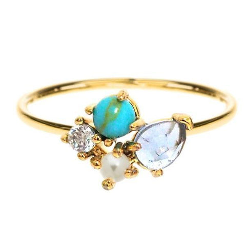 Cluster Stone Ring, Gold/Multi