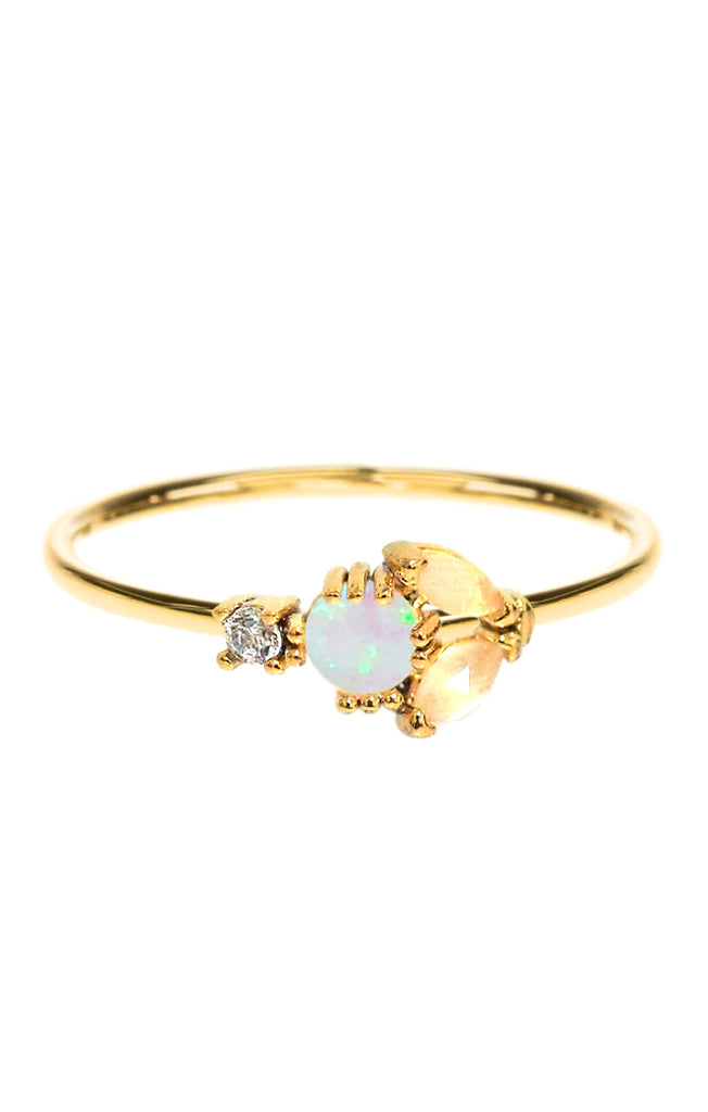 Opal And Cat's Eye Ring With CZ Accent Tai Jewelry