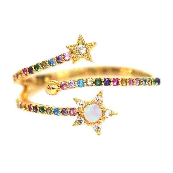 Tai Jewelry Rainbow Ring With Star Accents