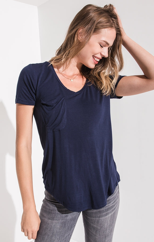 The Jersey Pocket Tee In Navy