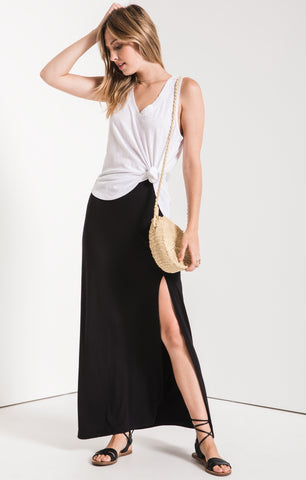 Brynn Side Slit Maxi Skirt In Black