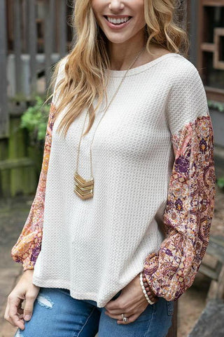 Grace & Lace Thermal Combo Top In Oatmeal Combo