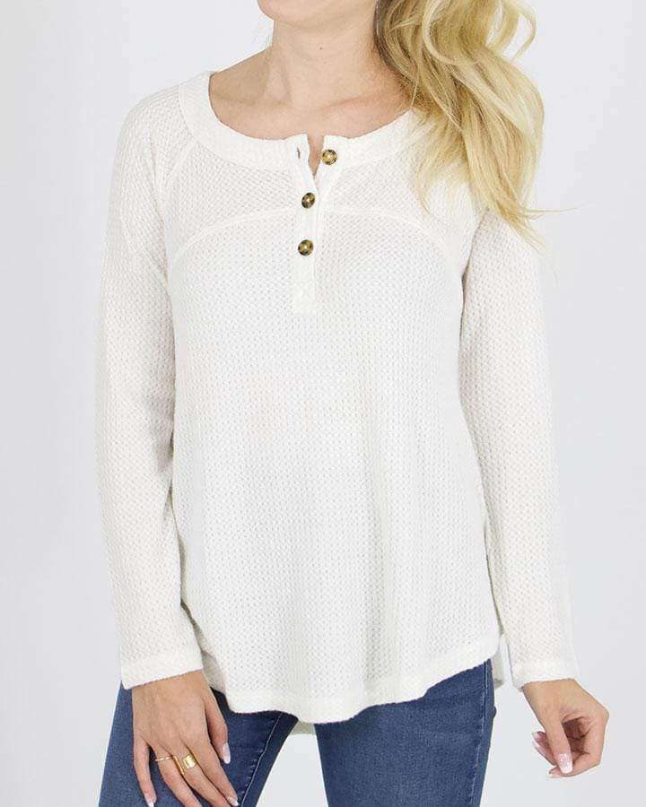 Grace & Lace Thermal Henley - Ivory