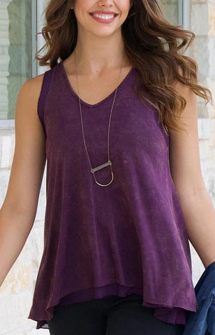 Grace & Lace Tiered Mesh Tank - Aubergine