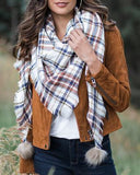 Grace & Lace 'Plaid Triangle Scarf' – Ivory Multi