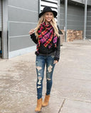 Grace & Lace 'Plaid Triangle Scarf' – Black Pink Plaid