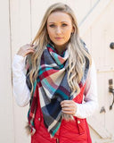 Grace & Lace 'Plaid Triangle Scarf' – Denim Plaid