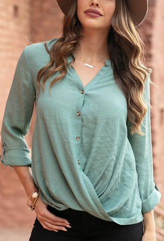 Grace & Lace 'Twisted Hem Button-Up' In JAde