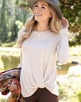 Grace & Lace 'Twist Hem Pullover' – Oatmeal