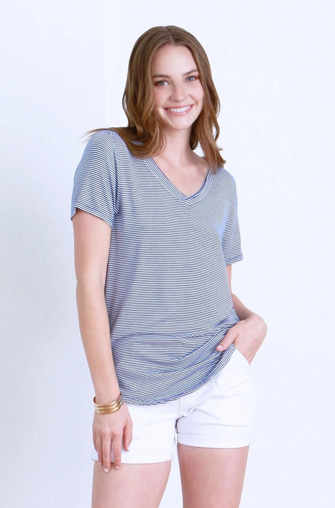 Emma Double V-Neck Tee In French Blue