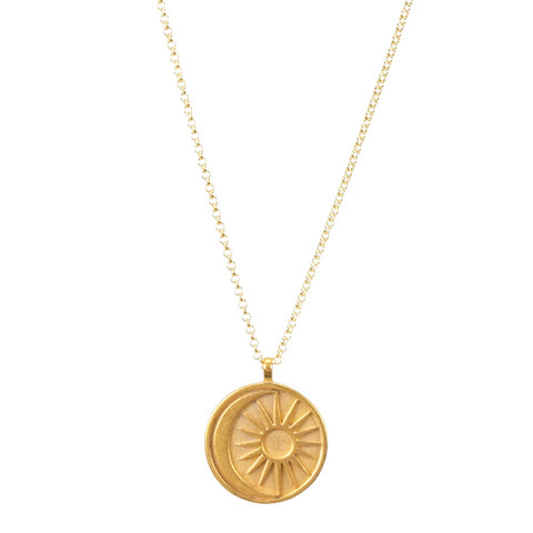 Dogeared Sun & Moon Medallion Necklace