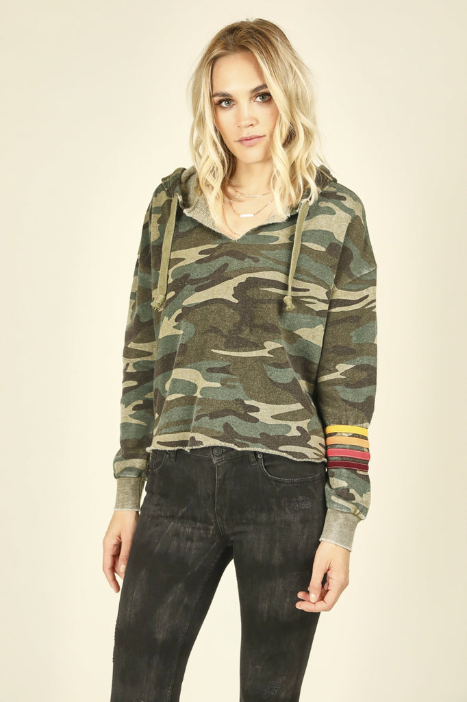 Vintage Havana Olive Camo Hoodie With Multi Stripes