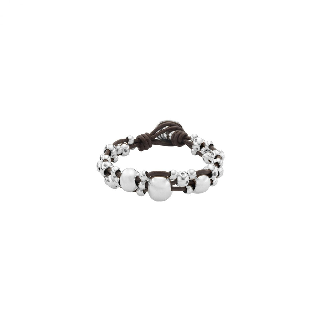 Mutlivitamins Multi Strand Bracelet in Silver and Leather
