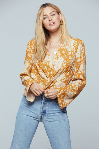Kauai Gold Floral Print Twist Top