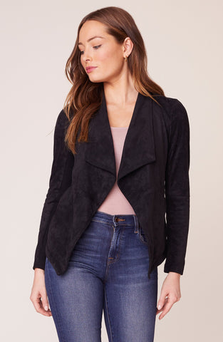 Wade Faux Suede Jacket in Black