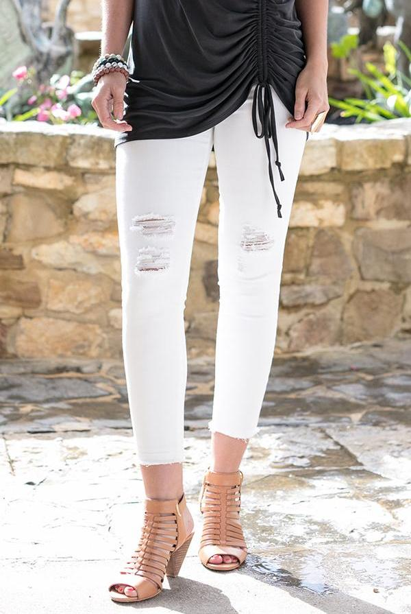White Zip Up Cropped Jeggings By Grace & Lace