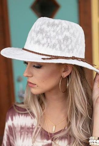 Wide Brim Fedora In White By Grace & Lace