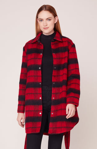 Wild and Wooly Plaid Jacket in Bright Red