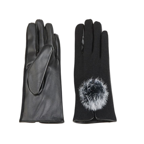 Wool Blend Fur Poof Gloves in Black