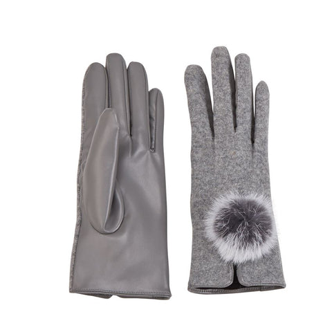 Fur Poof Gloves in Gray
